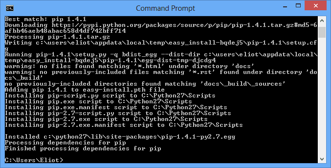 easy_install pip in command prompt
