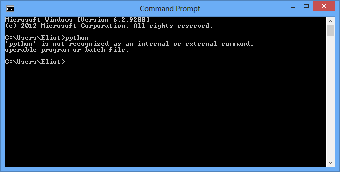 Command Prompt does not recognize Python