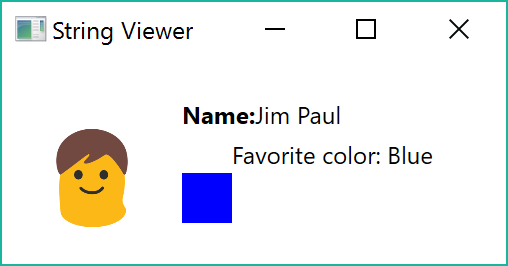 person visualizer showing name and favorite color