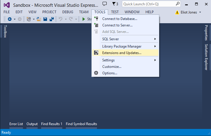 Screenshot of updating Visual Studio