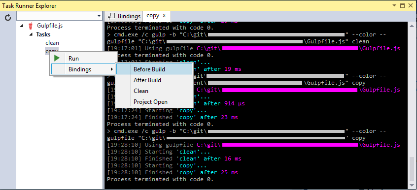 Right click the task and select bindings, then the binding you want