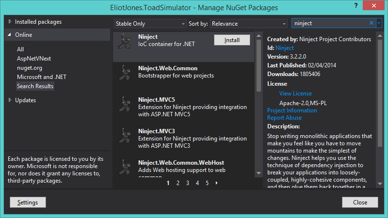 installing ninject from NuGet