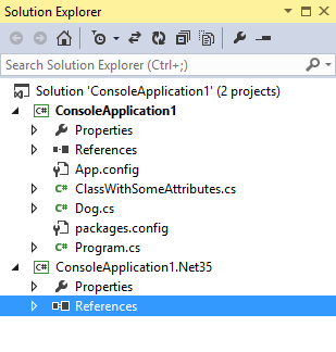 Solution explorer with .Net 4.5 and .Net 3.5 versions