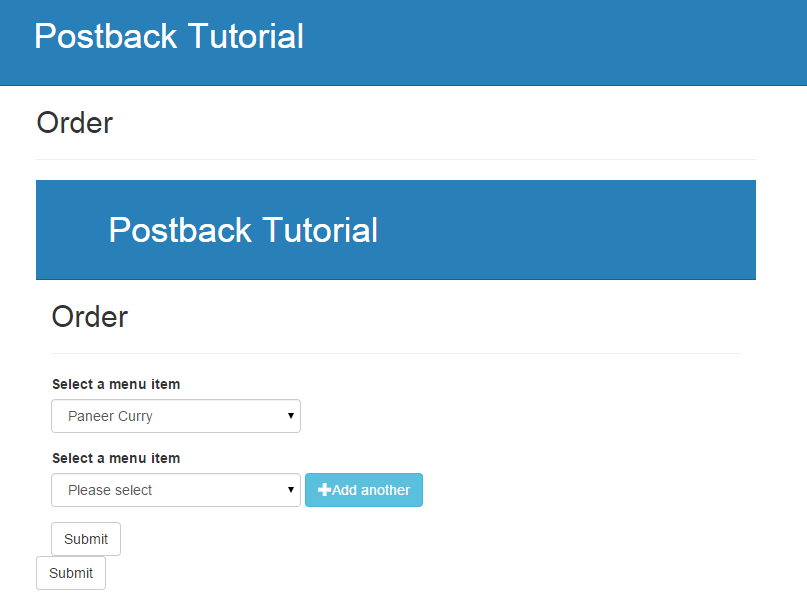 The postback inserts everything including the page header into the form region.