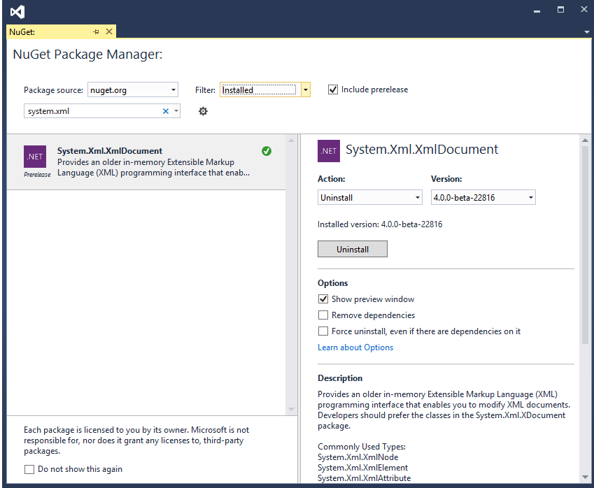 System.Xml.XmlDocument on NuGet